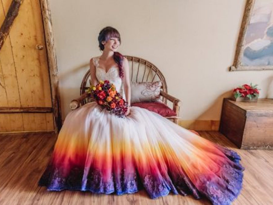 Orange And Purple Wedding | Colorful Dip Dyed Wedding Dresses Are The Latest Bridal Trend