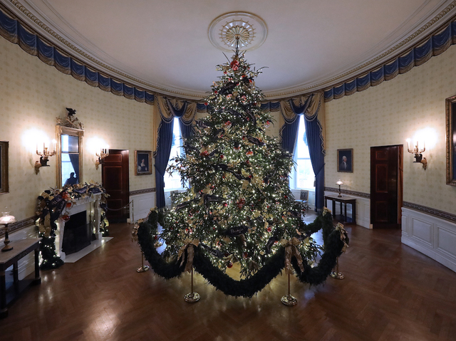 at 18 feet tall the official white house christmas is dressed in over 500 feet of blue velvet ribbon embroidered in gold with each state and territory